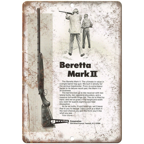 "Garcia Beretta Mark II Trap Gun Vintage Ad 10"" x 7"" Reproduction Metal Sign"