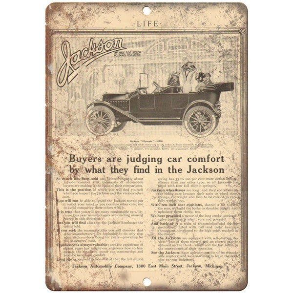 "1912 - Jackson Automobile Company Vintage Ad - 10"" x 7"" Retro Metal Sign"