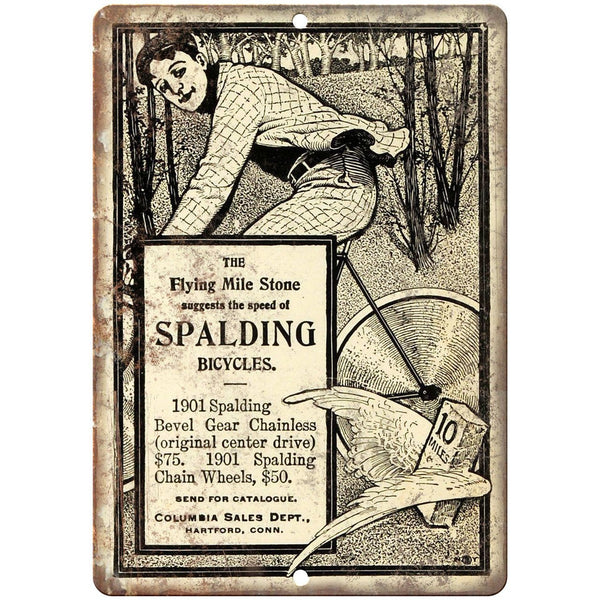 "Spalding Bicycles Vintage Ad 10"" x 7"" Reproduction Metal Sign B375"