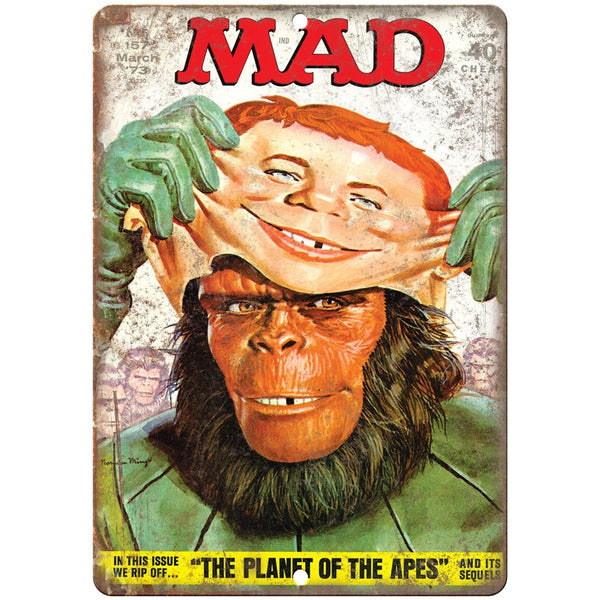"Planet of the Apes MAD Magazine Cover 10'"" x 7"" reproduction metal sign"
