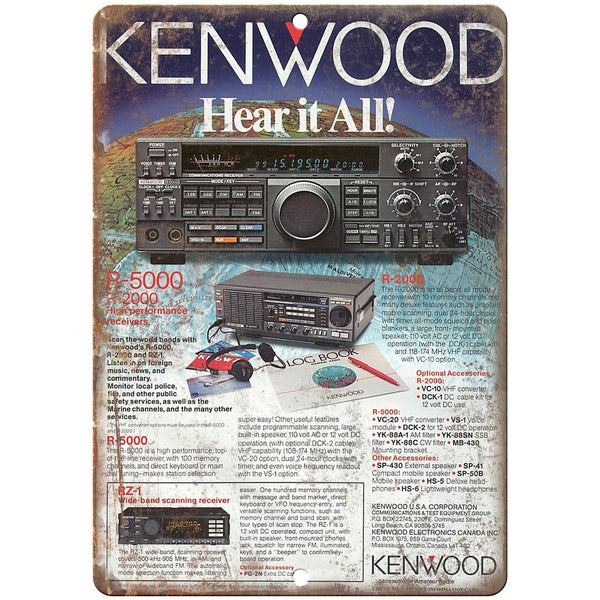 "Kenwood Scanning Receiver, Police Scanner 10"" x 7"" Reproduction Metal Sign D21"