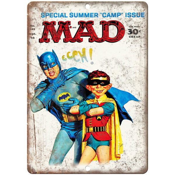 "1966 Mad Magazine No. 105 Batman Robin Cover 10""x7"" Reproduction Metal Sign J64"