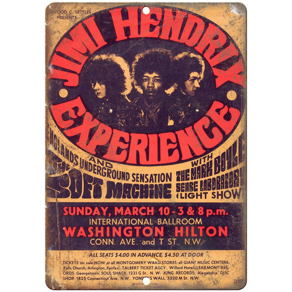 "Jimi Hendrix Tour Poster 10"" x 7"" reproduction metal sign K06"