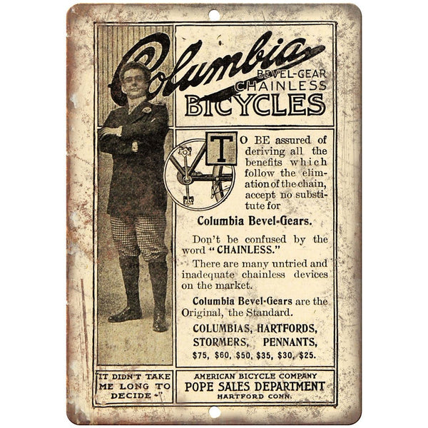 "American Bicycle Company Columbia Ad 10"" x 7"" Reproduction Metal Sign B435"