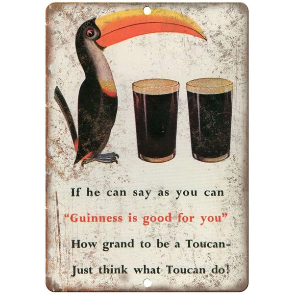 "Guinness Beer Toucan Vintage Breweriana Ad 10"" x 7"" Reproduction Metal Sign E20"