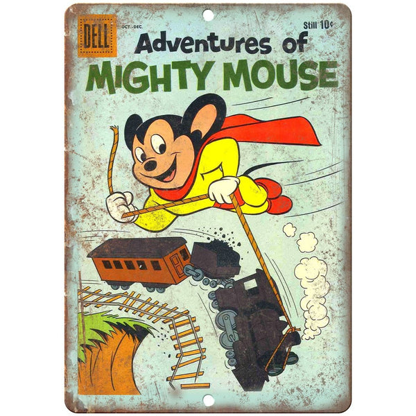 "Adventures of Mighty Mouse Dell Comics 10"" X 7"" Reproduction Metal Sign J232"
