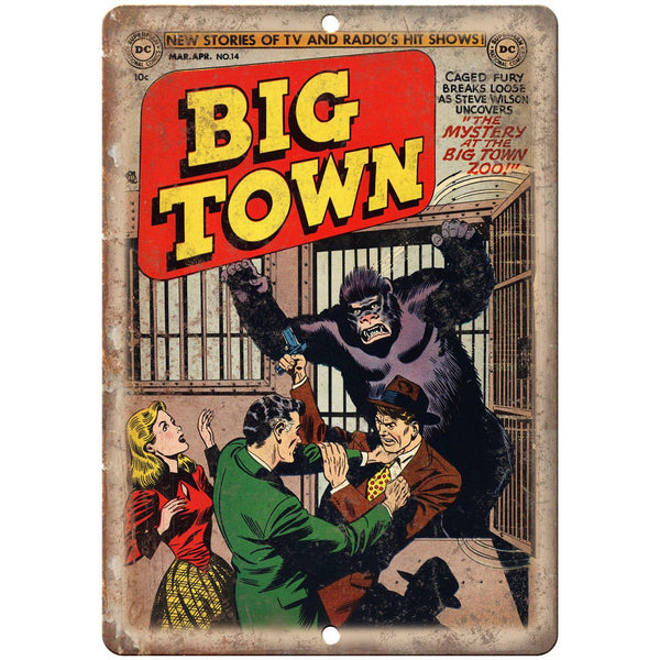 "Big Town Comic Book No 14 Cover Vitage 10"" x 7"" Reproduction Metal Sign J725"