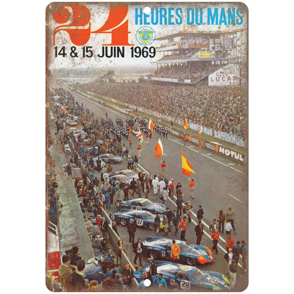 "1969 24 heures du mans, car race, speedway, NASCAR 10"" x 7"" Retro Metal Sign"
