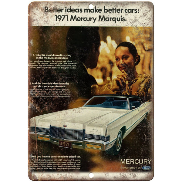 "1971 Mercury Marquis Lincoln Ford Auto Ad 10"" x 7"" Reproduction Metal Sign A309"