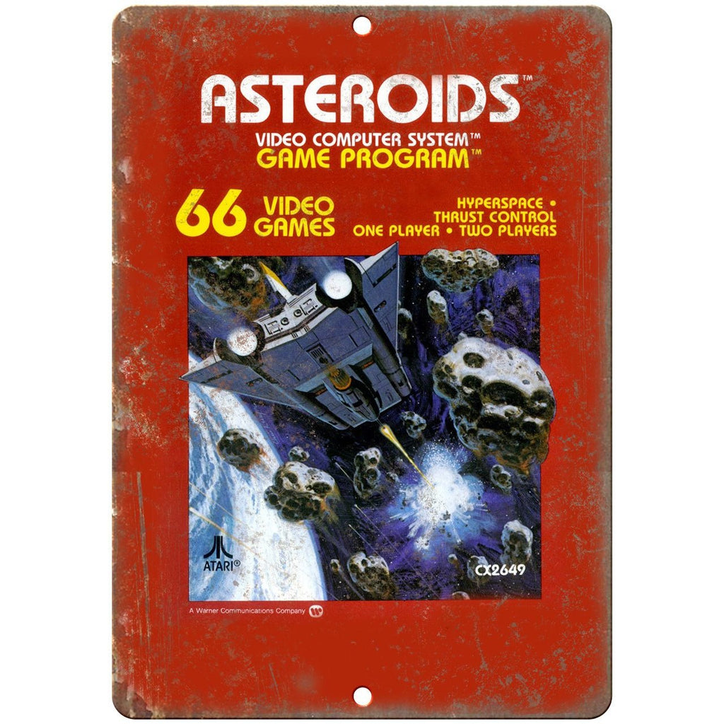 "Asteroids Atari Gaming Cover Art 10"" x 7"" Retro Look Metal Sign"