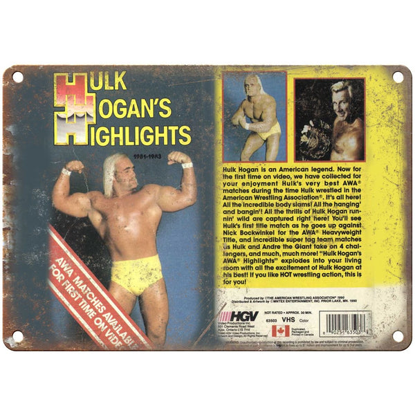 "WWF Hulk Hogans Highlights VHS Cover 10"" x 7"" Reproduction Metal Sign"
