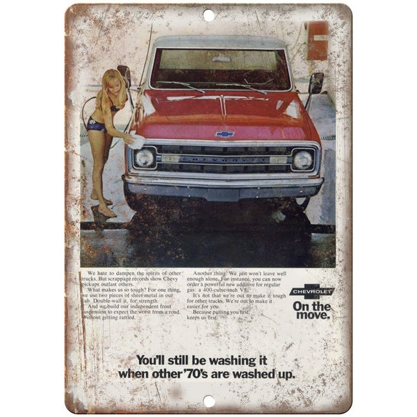 "1970s Chevy Pickup Truck Advertisment 10"" x 7"" Reproduction Metal Sign"