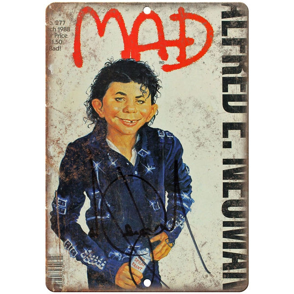 "1988 MAD Magazine Michael Jackson BAD Cover 10'"" x 7"" reproduction metal sign"