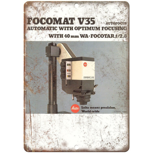 "Leitz Leica Focomat V35 Autofocus 10"" x 7"" Retro Look Metal Sign"