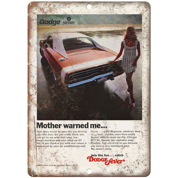 "1970 Dodge Chrysler Charger Vintage Ad 10"" x 7"" Reproduction Metal Sign"