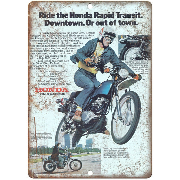 "Honda XL350 Vintage Motorcycle Ad 10"" x 7"" Reproduction Metal Sign A476"