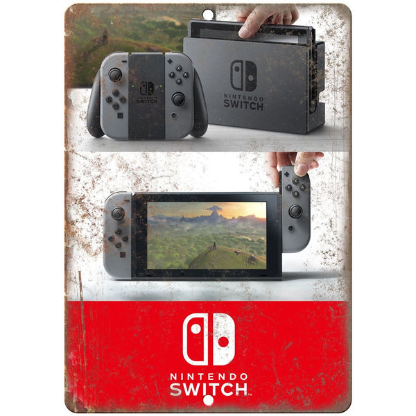 "Nintendo Switch Box Art 10"" x 7"" Retro Look Metal Sign"