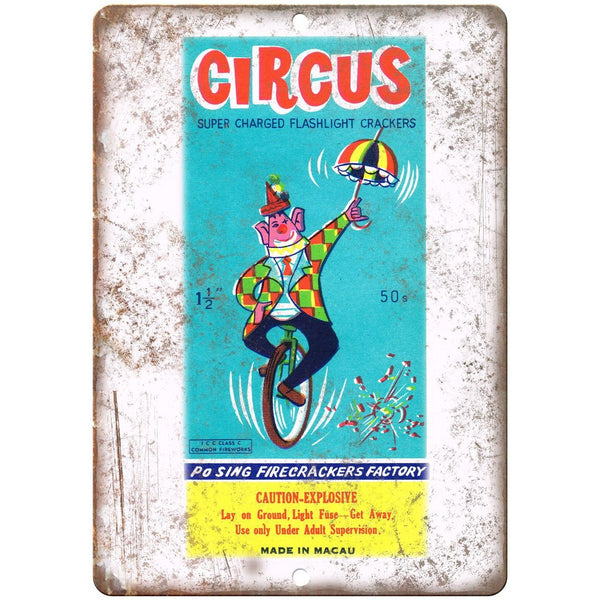 "Circus Firework Package Artwork 10"" X 7"" Reproduction Metal Sign ZD102"