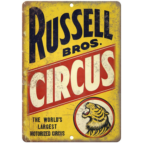 "Russell Bros Circus Vintage Poster 10"" X 7"" Reproduction Metal Sign ZH07"