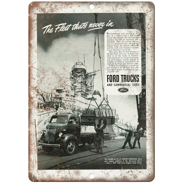 "1941 - Ford Trucks and Commercial Cars Ad - 10"" x 7"" Retro Look Metal Sign"