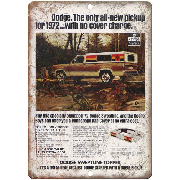 "1972 Dodge Pickup Sweeptline Topper Ad 10"" x 7"" Reproduction Metal Sign A252"