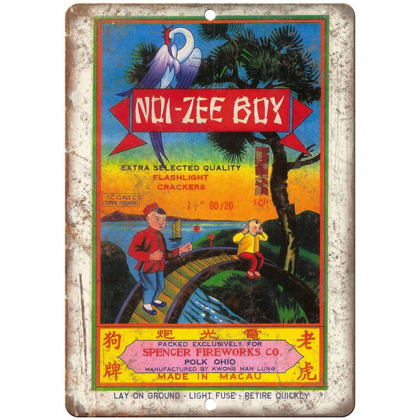 "Zoi-Zee Boy Spencer Fireworks Co. 10"" X 7"" Reproduction Metal Sign ZD61"
