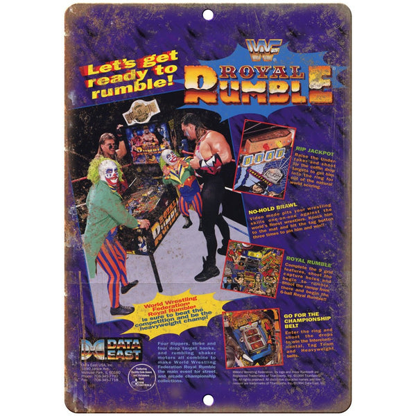 "WWF Royal Rumble Data East Pinball Machine 10"" X 7"" Reproduction Metal Sign G78"