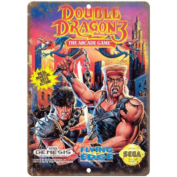 Double Dragon 3 Arcade Game Sega Genesis 10 X 7 Reproduction Metal S Rusty Walls Sign Shop