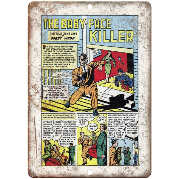 "Baby Face Killer Penalty! Comic Strip 10"" X 7"" Reproduction Metal Sign J346"
