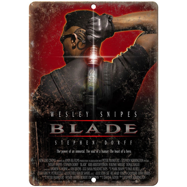 "10"" x 7"" Metal Sign - Blade Movie Poster Wesley Snipes Vintage Look Reproduction"