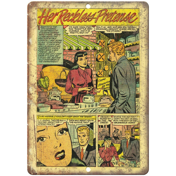 "Ace Comics Her Reckless Pretense Comic 10"" X 7"" Reproduction Metal Sign J406"