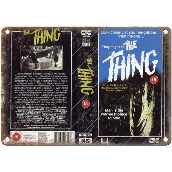 "John Carpenter's The Thing VHS Cover 10"" x 7"" Reproduction Metal Sign"