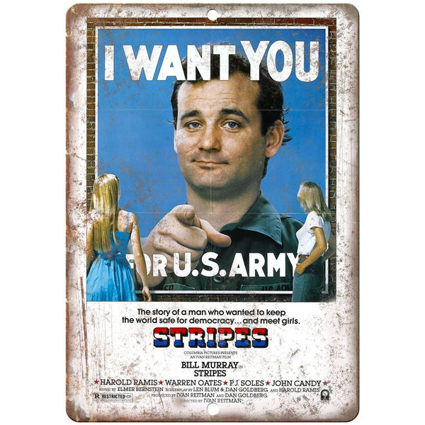 "Stripes Movie Poster I Want You Bill Murray 10"" x 7"" Retro Look Metal Sign"