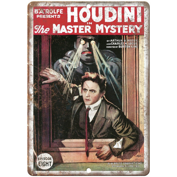 "B A Rolfe Houdini Magician Poster 10"" X 7"" Reproduction Metal Sign ZH179"