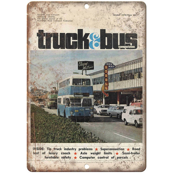 "1970 Truck & Bus Transportation Magazine 10"" x 7"" Reproduction Metal Sign A164"