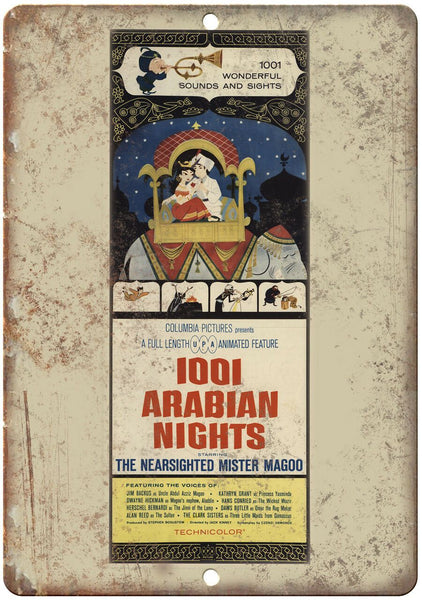 "1001 Arabian Nights Vintage Movie Ad 10"" X 7"" Reproduction Metal Sign I149"