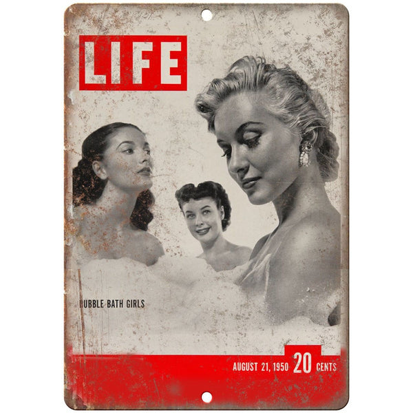 "LIFE Magazine August 1950 Bubble Bath Girls 10"" x 7"" Reproduction Metal Sign C74"