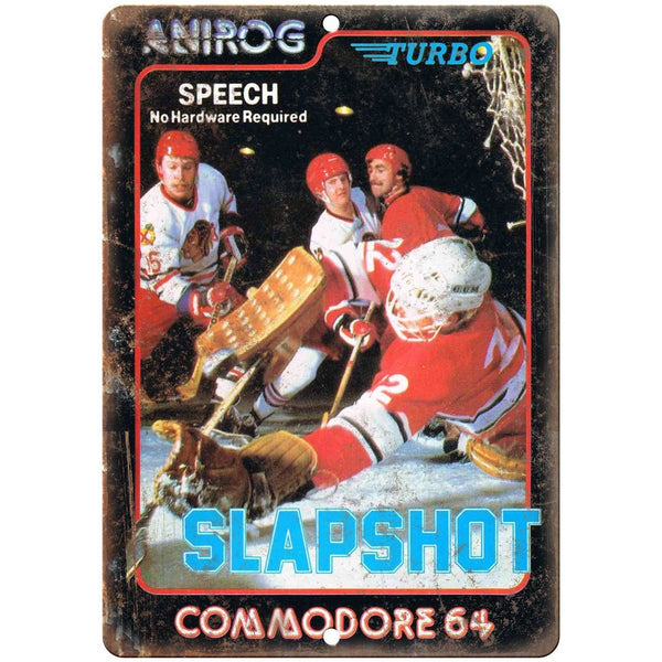 "Commodore 64 Slapshot Computer Game 10"" x 7"" Reproduction Metal Sign G11"