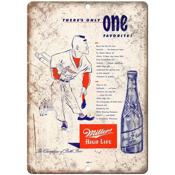 "Miller High Life Vinate Breweriana Beer Ad 10"" x 7"" Reproduction Metal Sign E06"