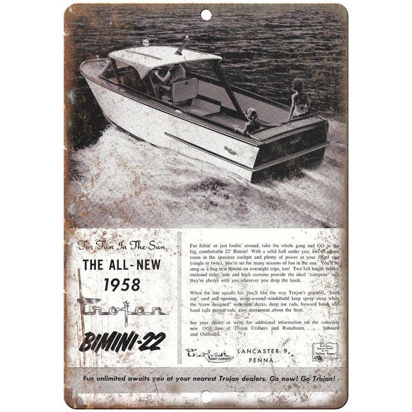 "Trojan Bimini 22 Boat Vintage Ad 10"" x 7"" Reproduction Metal Sign L36"
