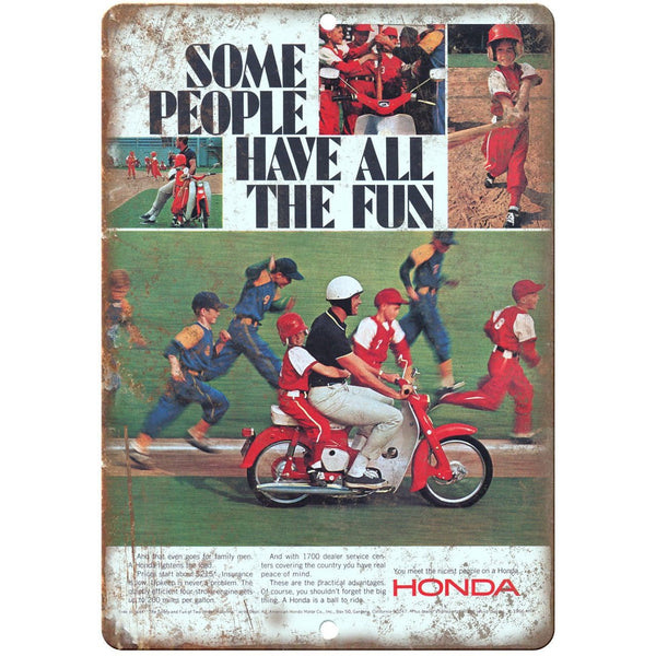 "Honda Moped Vintage Ad 10"" x 7"" Reproduction Metal Sign A472"