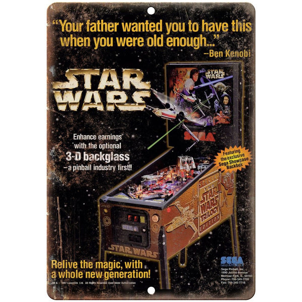 "Sega Pinball Star Wars Trilogy ad 10"" x 7"" Reproduction Metal Sign G140"