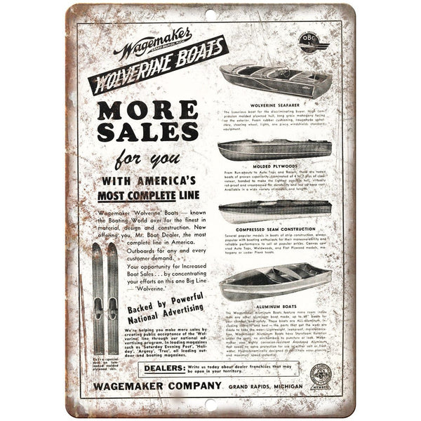 "Wagemakes Wolverine Boat Vintage Ad 10"" x 7"" Reproduction Metal Sign L92"