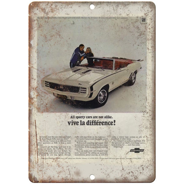 "Chevy Camaro Vive La Differennce Vintage Ad 10"" x 7"" Reproduction Metal Sign"