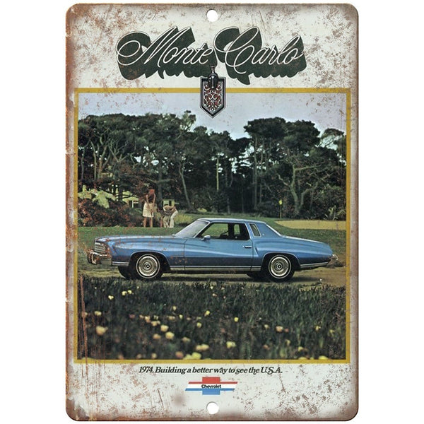 "1974 Chevy Monte Carlo Vintage Print Ad 10"" x 7"" Reproduction Metal Sign"