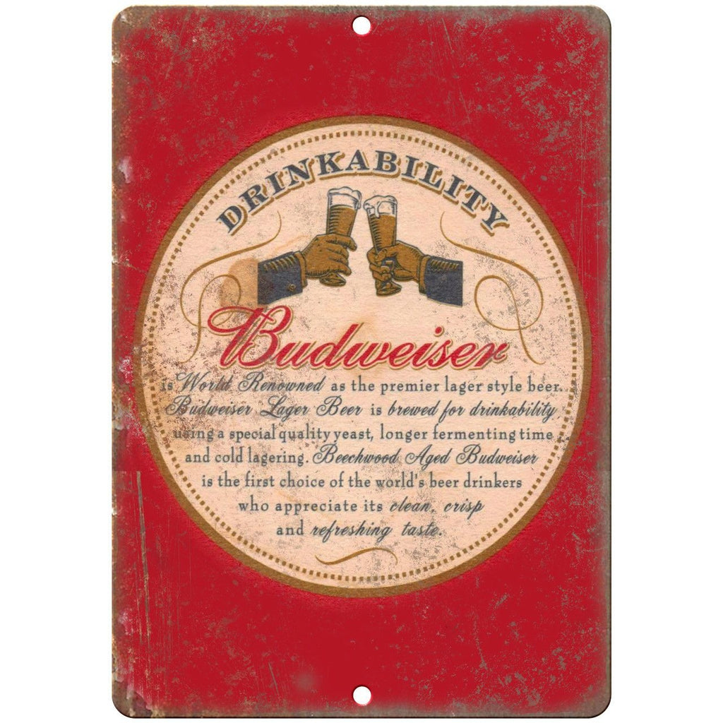 "Budweiser Beer Vintage Man Cave Décor 10"" x 7"" Reproduction Metal Sign E256"