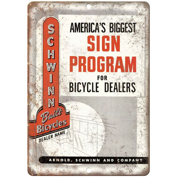 "1947 Schwinn Bicycle Dealer Sign Program - 10"" x 7"" Retro Look Metal Sign"