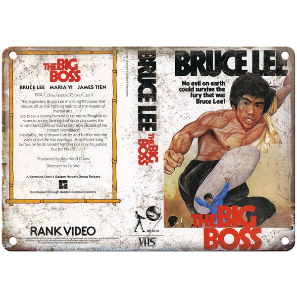 "1971 Bruce Lee Big Boss VHS Cover 10"" x 7"" Reproduction Metal Sign"