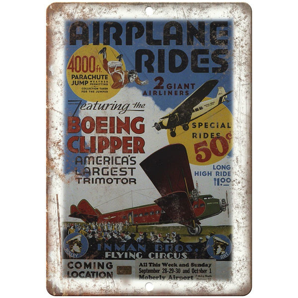 "Airplane Rides Inman Bros Flying Circus 10"" X 7"" Reproduction Metal Sign ZH123"
