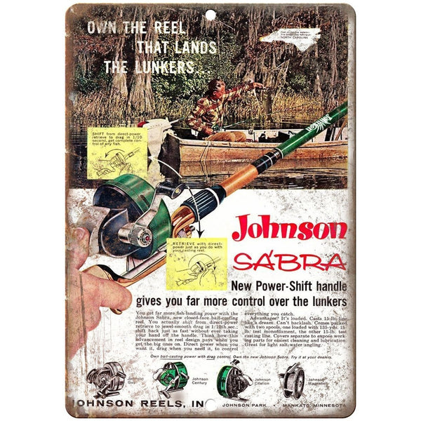 "Johnson Sabra Fishing Reels 10'"" x 7"" reproduction metal sign"